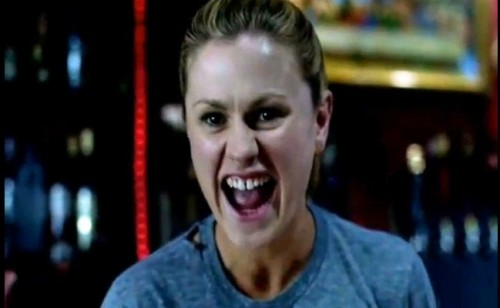 Sookie --minus the orange light - not so different than Claudine--the look of glee in the eyes while striking back
